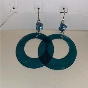 Blue dangly hoop earrings